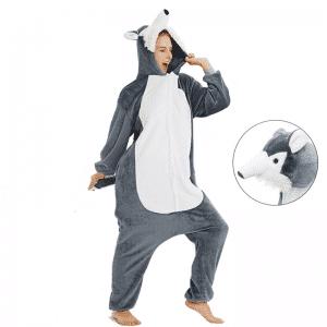 kigurumi adulte loup gris