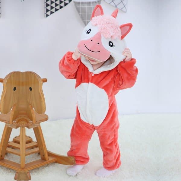 kigurumi licorne rouge bebe