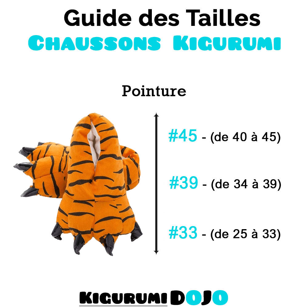 guide des tailles chaussons kigurumi