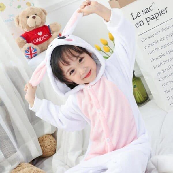 Kigurumi lapin blanc et rose enfant