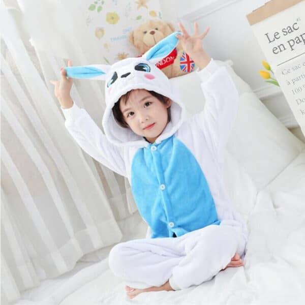 Kigurumi lapin blanc et bleu